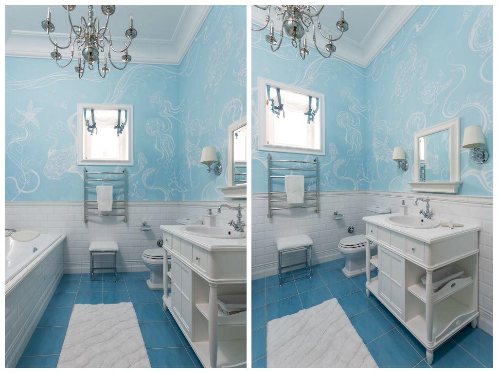 Туалет в цветах: бирюзовый, серый, светло-серый, сине-зеленый. Туалет в стиле английские стили.