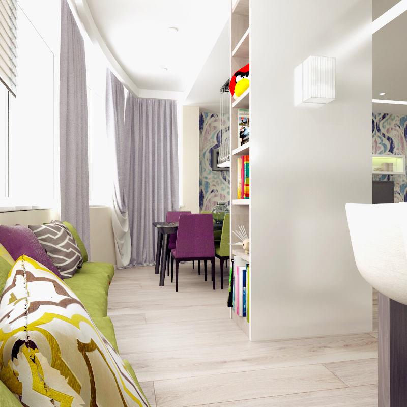 Гостиная, холл в цветах: белый, салатовый, сиреневый, бежевый. Гостиная, холл в стиле минимализм.