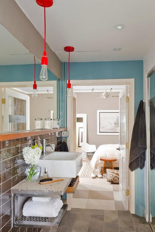 Туалет в цветах: серый, светло-серый, белый, сине-зеленый. Туалет в стиле эклектика.