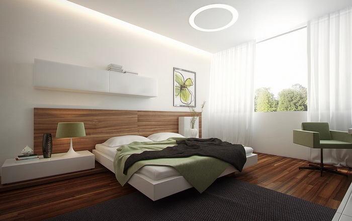 Спальня в цветах: белый, салатовый, темно-коричневый. Спальня в стиле скандинавский стиль.