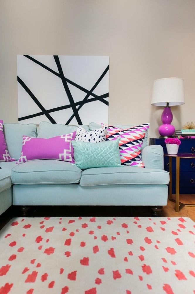 Гостиная, холл в цветах: черный, серый, розовый, сине-зеленый. Гостиная, холл в стиле скандинавский стиль.