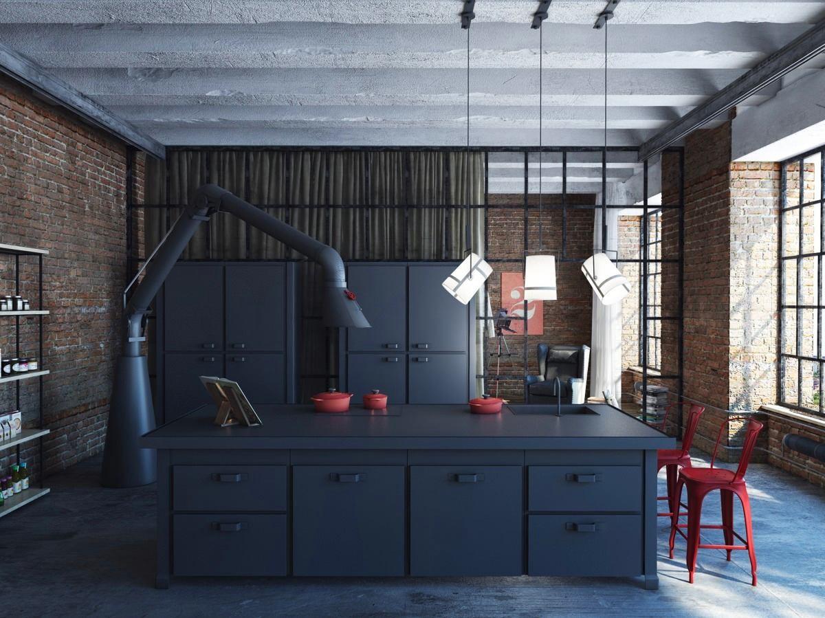 Кухня в цветах: бирюзовый, черный, серый, светло-серый, белый. Кухня в стиле лофт.