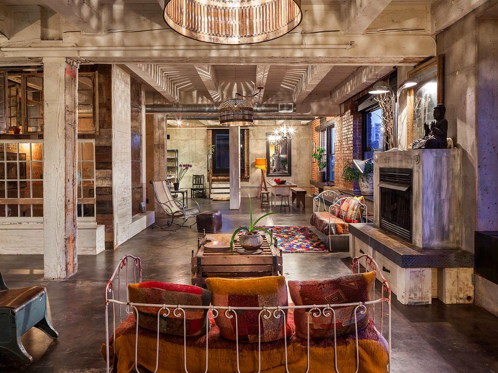 Гостиная, холл в цветах: серый, светло-серый, темно-коричневый, коричневый, бежевый. Гостиная, холл в стиле лофт.