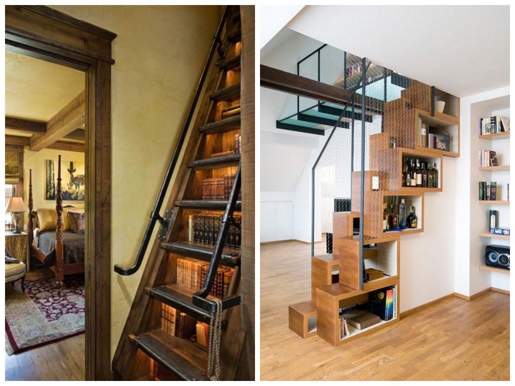 Лестница в цветах: белый, коричневый, бежевый. Лестница в стилях: минимализм, неоготика.