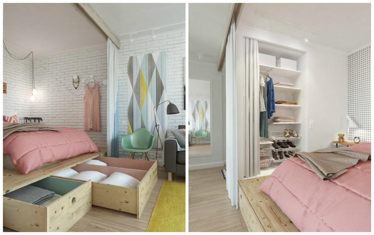 Спальня в цветах: белый, розовый, бежевый. Спальня в стиле скандинавский стиль.