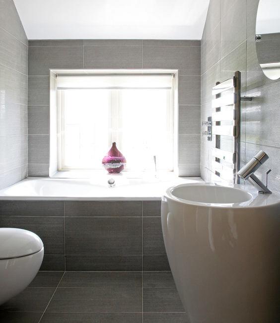 Туалет в цветах: серый, белый, коричневый, бежевый. Туалет в стиле минимализм.