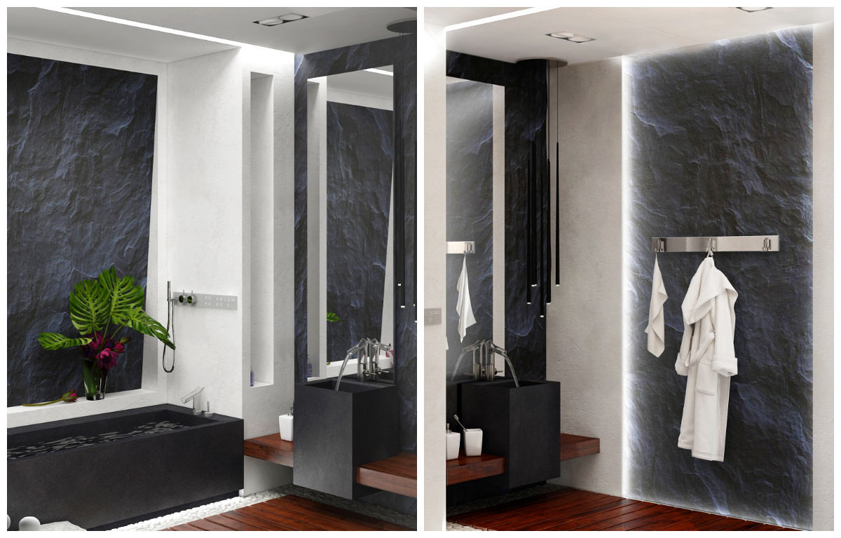 Туалет в цветах: черный, светло-серый, белый, темно-коричневый. Туалет в стилях: минимализм, экологический стиль.