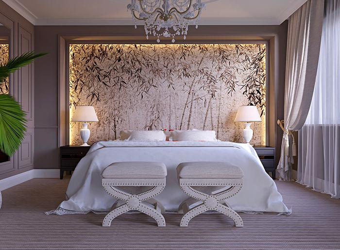 Спальня в цветах: серый, светло-серый, бежевый. Спальня в стиле минимализм.
