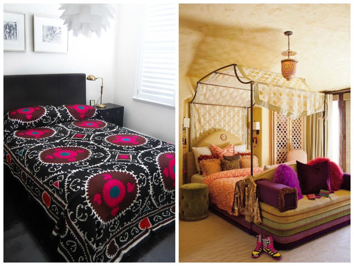 Спальня в цветах: черный, белый, сиреневый, темно-коричневый, бежевый. Спальня в стиле ближневосточные стили.