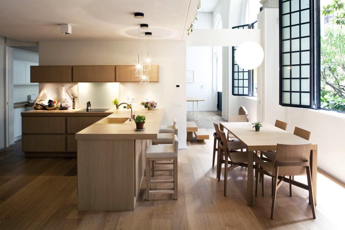 Кухня в цветах: черный, серый, светло-серый, белый, коричневый. Кухня в стиле минимализм.