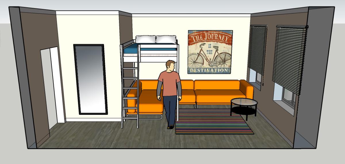 Гостиная, холл в цветах: оранжевый, фиолетовый, серый, белый, коричневый. Гостиная, холл в .