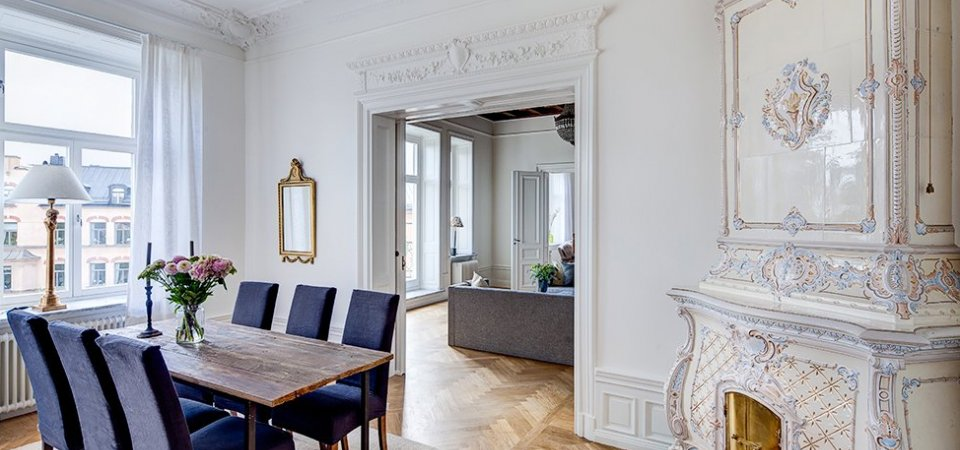 Шведская классика в духе Густава III: квартира в Стокгольме