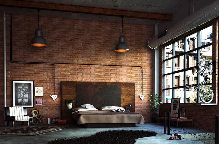 Спальня в цветах: серый, белый, темно-коричневый, коричневый. Спальня в стиле лофт.