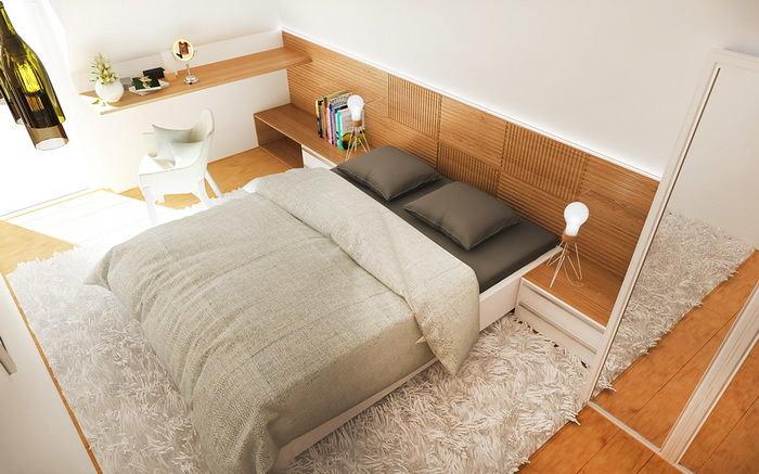 Спальня в цветах: светло-серый, белый, коричневый, бежевый. Спальня в стиле скандинавский стиль.