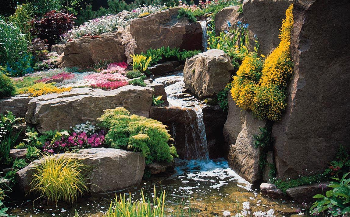 Ландшафт в цветах: желтый, зеленый, серый, розовый, темно-зеленый. Ландшафт в стилях: средиземноморский стиль, экологический стиль.