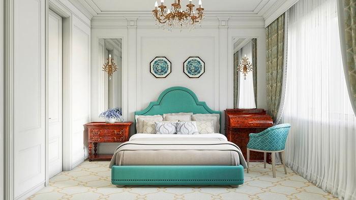 Спальня в цветах: серый, светло-серый, белый, сине-зеленый. Спальня в стиле минимализм.