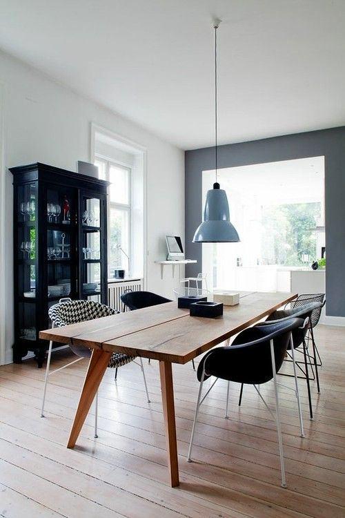 Столовая в цветах: черный, серый, белый, сине-зеленый. Столовая в стилях: скандинавский стиль.