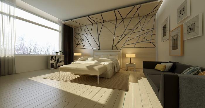 Спальня в цветах: светло-серый, белый, бежевый. Спальня в стиле минимализм.