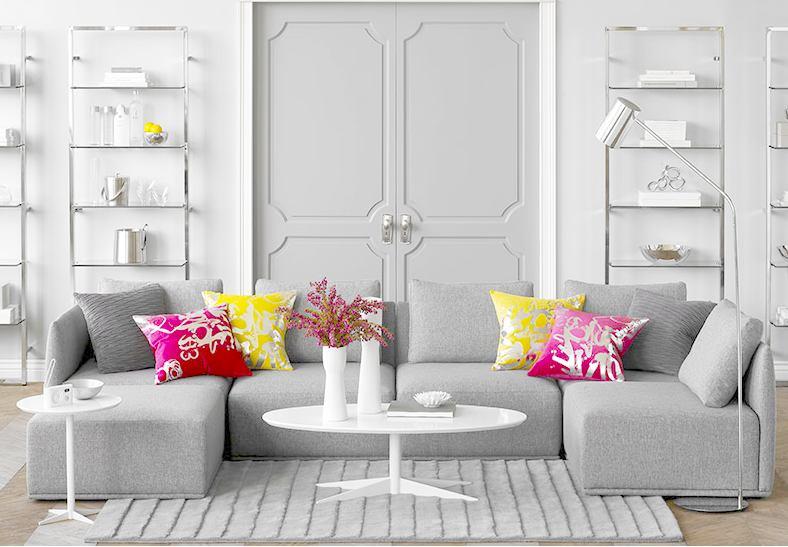 Гостиная, холл в цветах: желтый, серый, светло-серый, бежевый. Гостиная, холл в стиле минимализм.