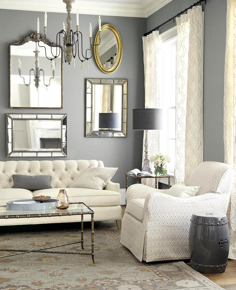 Гостиная, холл в цветах: серый, светло-серый, белый. Гостиная, холл в стиле французские стили.
