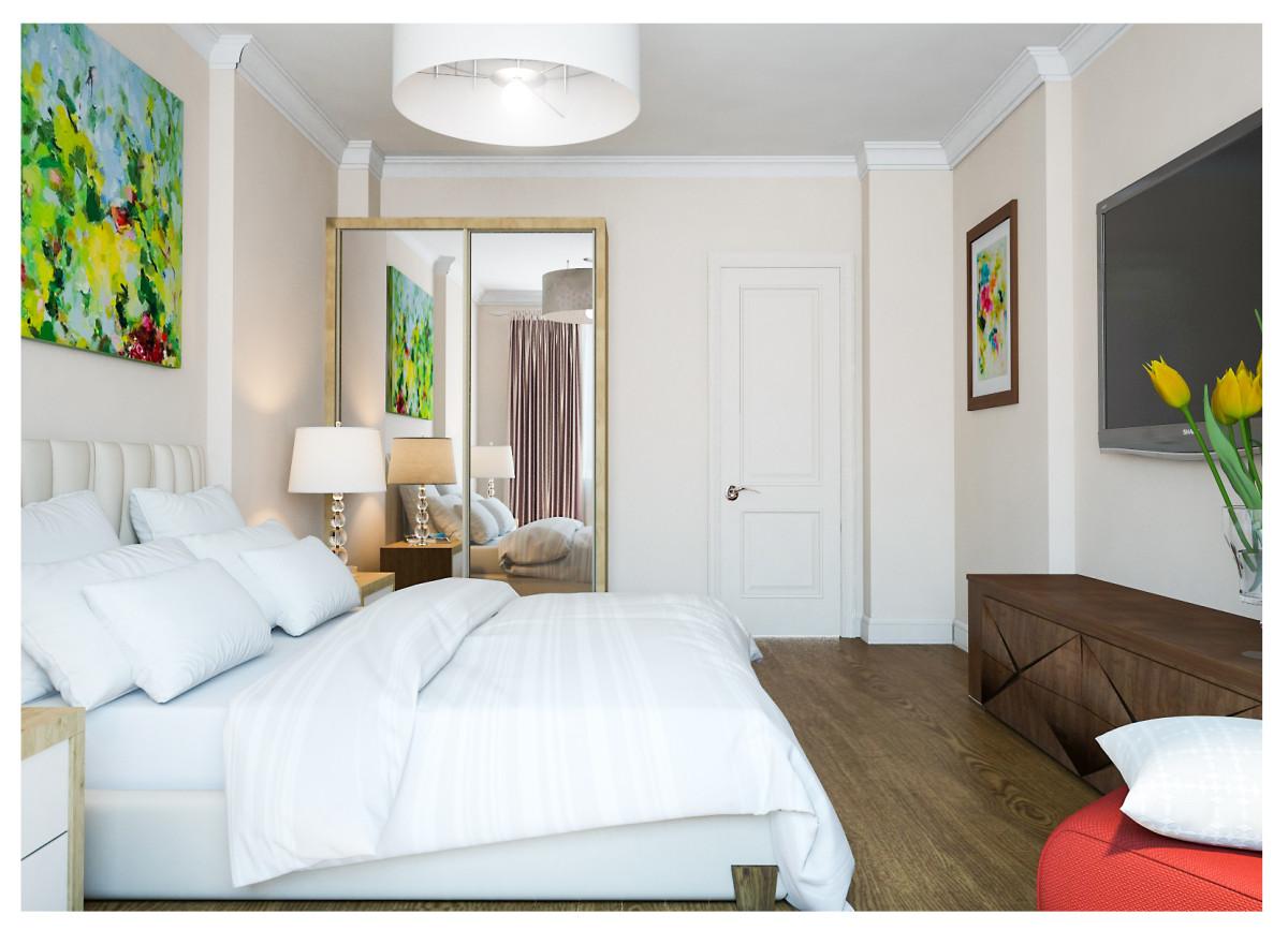 Спальня в  цветах:   Бежевый, Белый, Светло-серый, Темно-коричневый.  Спальня в  стиле:   Минимализм.