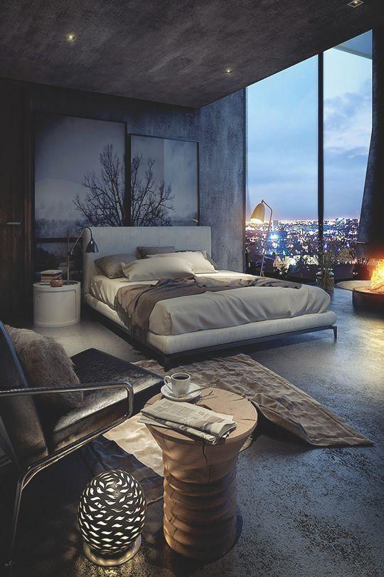 Спальня в  цветах:   Светло-серый, Серый, Синий, Темно-коричневый, Черный.  Спальня в  стиле:   Лофт.