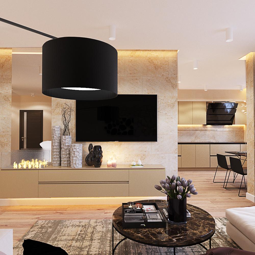 Гостиная в  цветах:   Бежевый, Светло-серый, Темно-коричневый, Черный.  Гостиная в  стиле:   Минимализм.