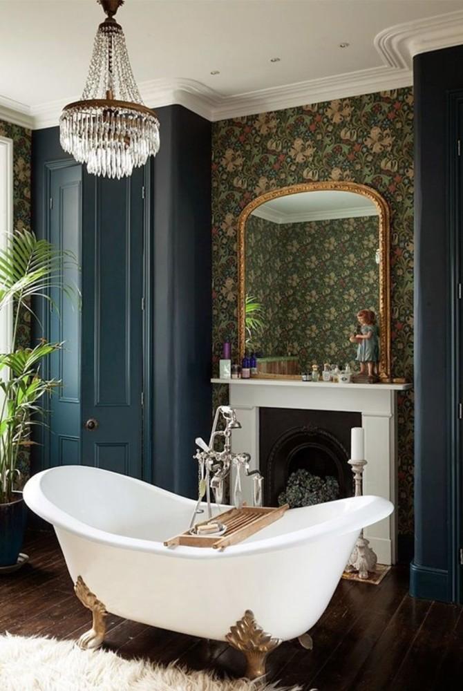 Ванная в  цветах:   Бежевый, Светло-серый, Синий, Темно-коричневый, Черный.  Ванная в  стиле:   Классика.