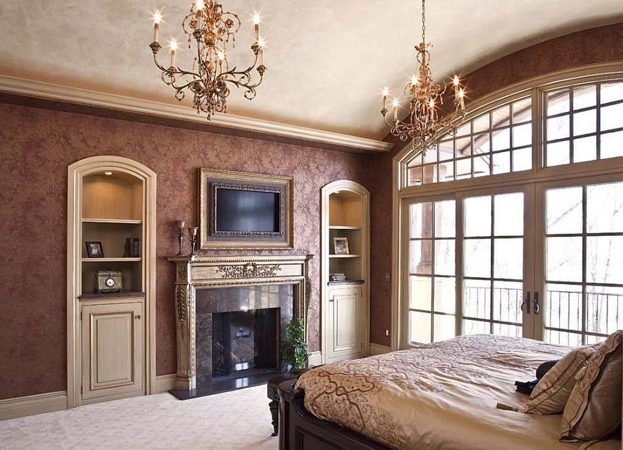Спальня в  цветах:   Бежевый, Белый, Коричневый, Светло-серый, Темно-коричневый.  Спальня в  стиле:   Классика.