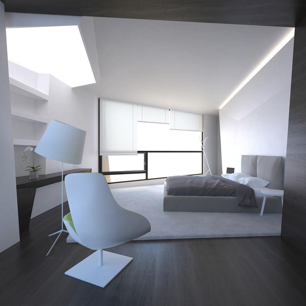 Спальня в  цветах:   Белый, Светло-серый, Серый, Синий, Черный.  Спальня в  стиле:   Минимализм.