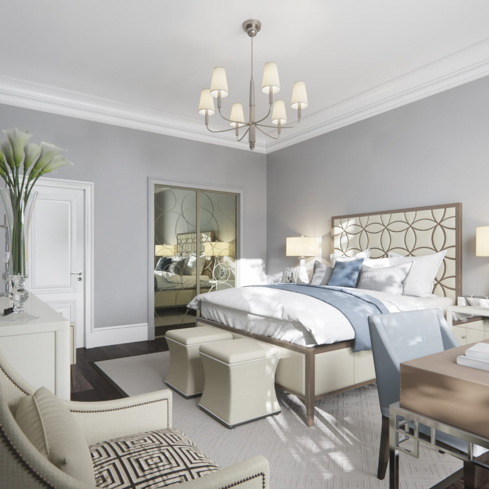 Спальня в  цветах:   Бежевый, Светло-серый, Серый.  Спальня в  стиле:   Неоклассика.