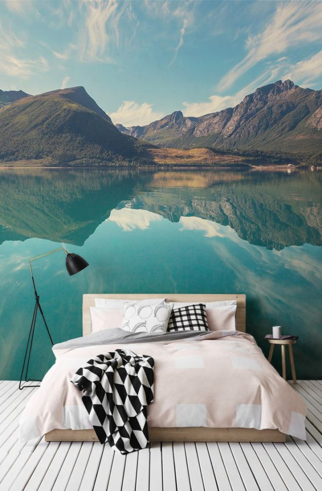 У спаваћој соби у бојама: тиркиз, Блуе, Лигхт Греи, Греи, Блуе.  Спаваћа соба у стилу минимализма.