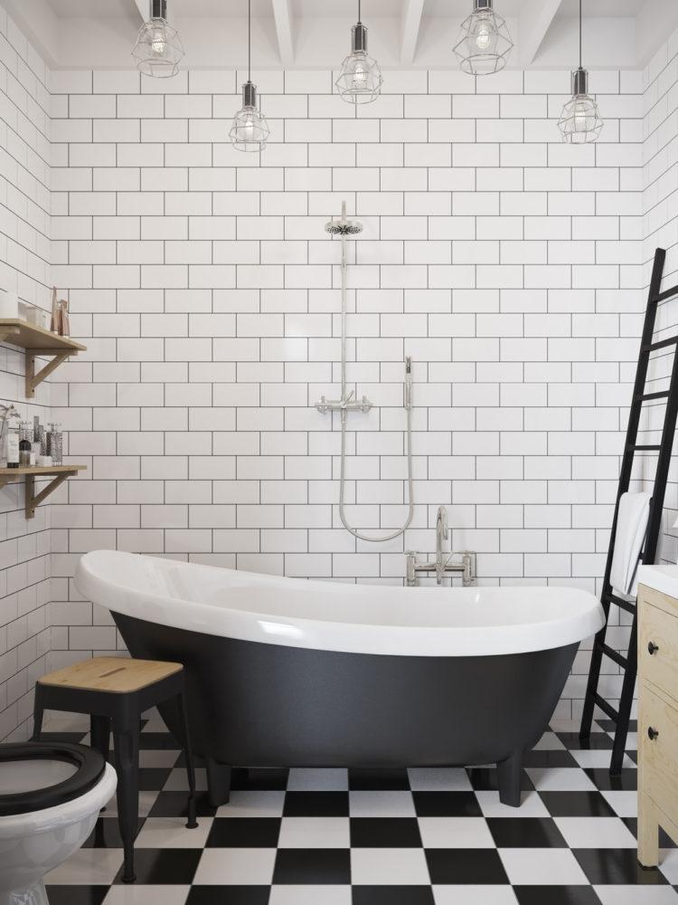 Ванная в  цветах:   Светло-серый, Серый, Черный.  Ванная в  стиле:   Скандинавский.