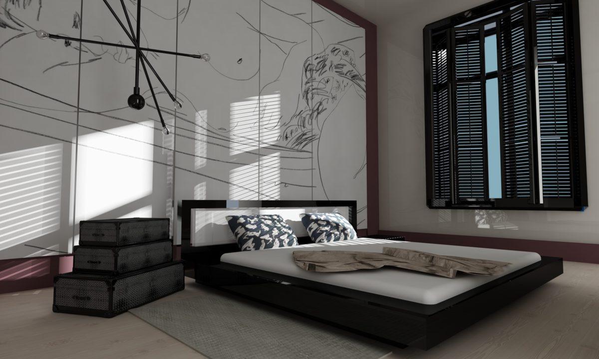 Спальня в  цветах:   Светло-серый, Серый, Темно-коричневый, Черный.  Спальня в  стиле:   Минимализм.