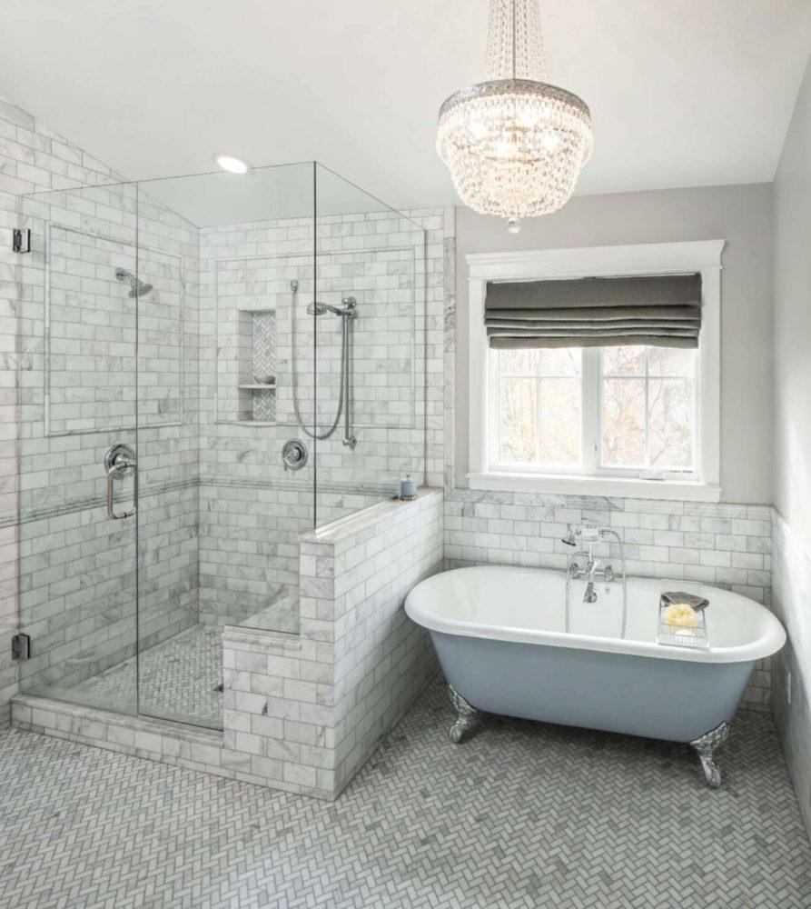Ванная в  цветах:   Светло-серый, Серый.  Ванная в  стиле:   Неоклассика.