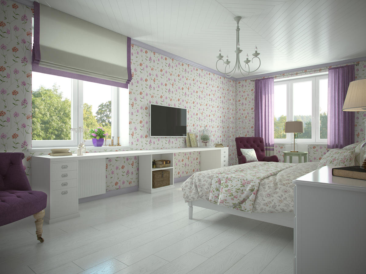Спальня в  цветах:   Бежевый, Белый, Светло-серый, Серый.  Спальня в  стиле:   Прованс.