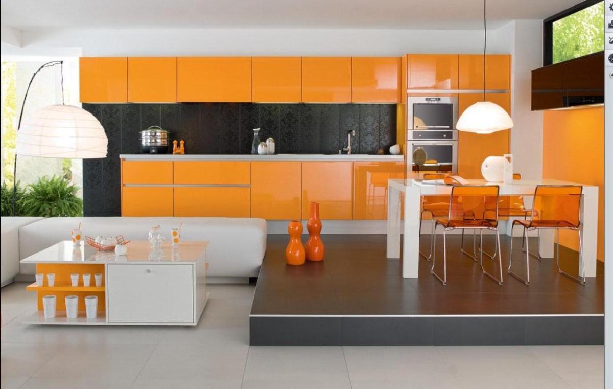 Кухня/столовая в  цветах:   Бежевый, Коричневый, Оранжевый, Светло-серый, Серый.  Кухня/столовая в  стиле:   Минимализм.