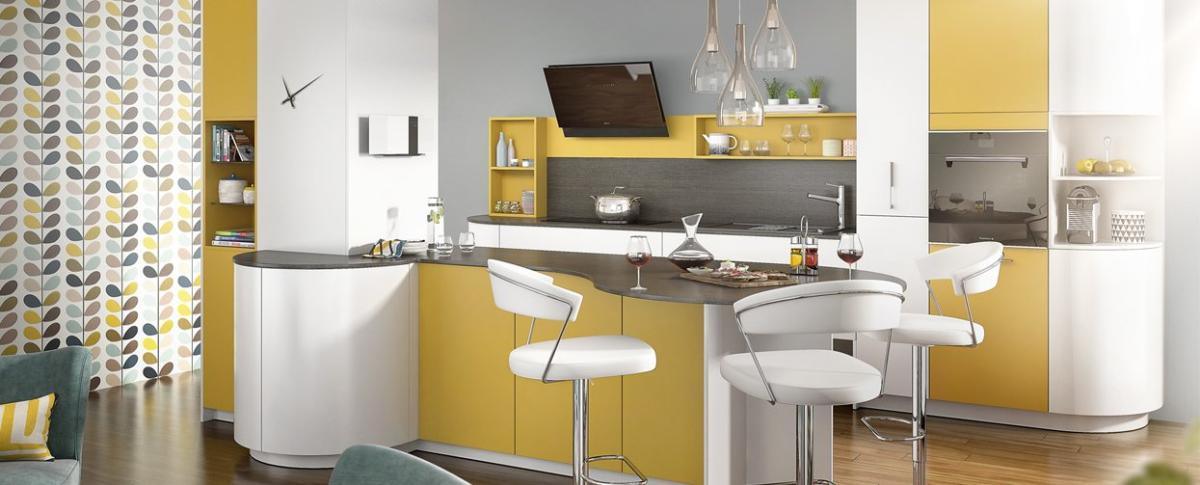 Кухня/столовая в  цветах:   Бежевый, Белый, Желтый, Светло-серый, Серый.  Кухня/столовая в  стиле:   Минимализм.