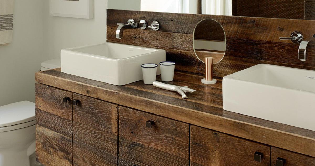 Дерево в ванной комнате: 30 вариантов декора