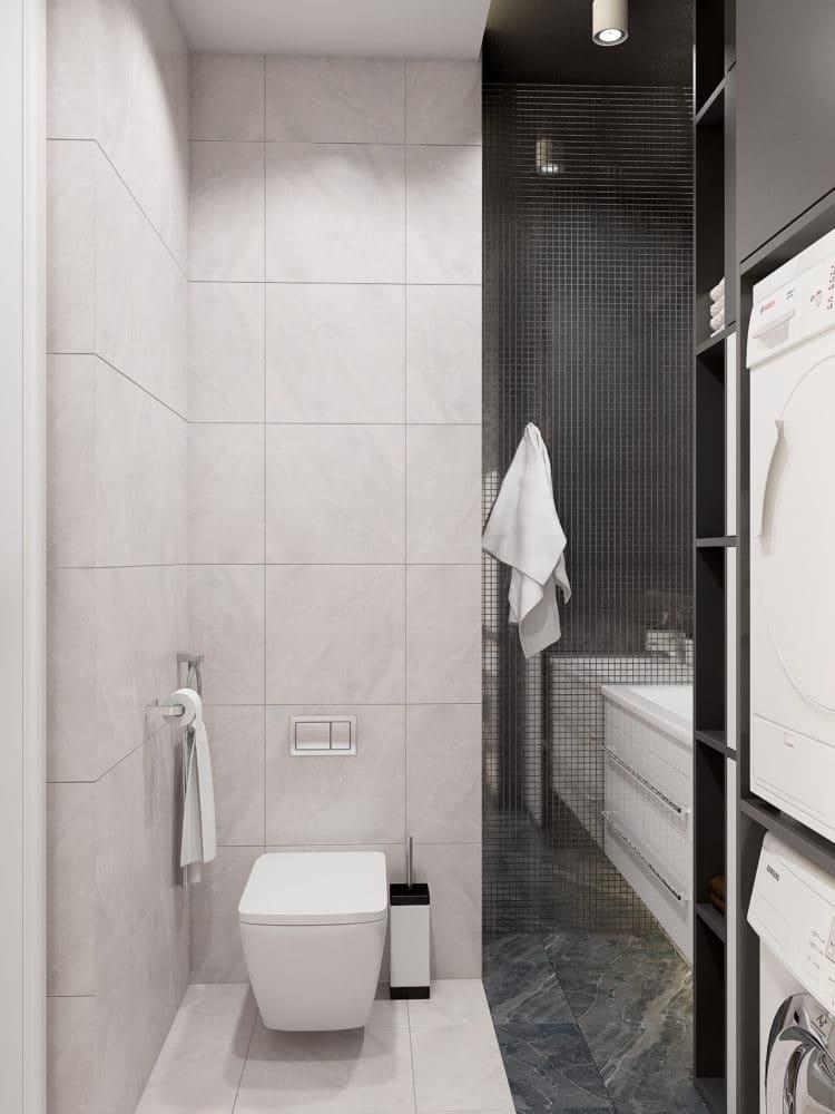 Туалет в  цветах:   Бежевый, Светло-серый, Серый, Черный.  Туалет в  стиле:   Минимализм.