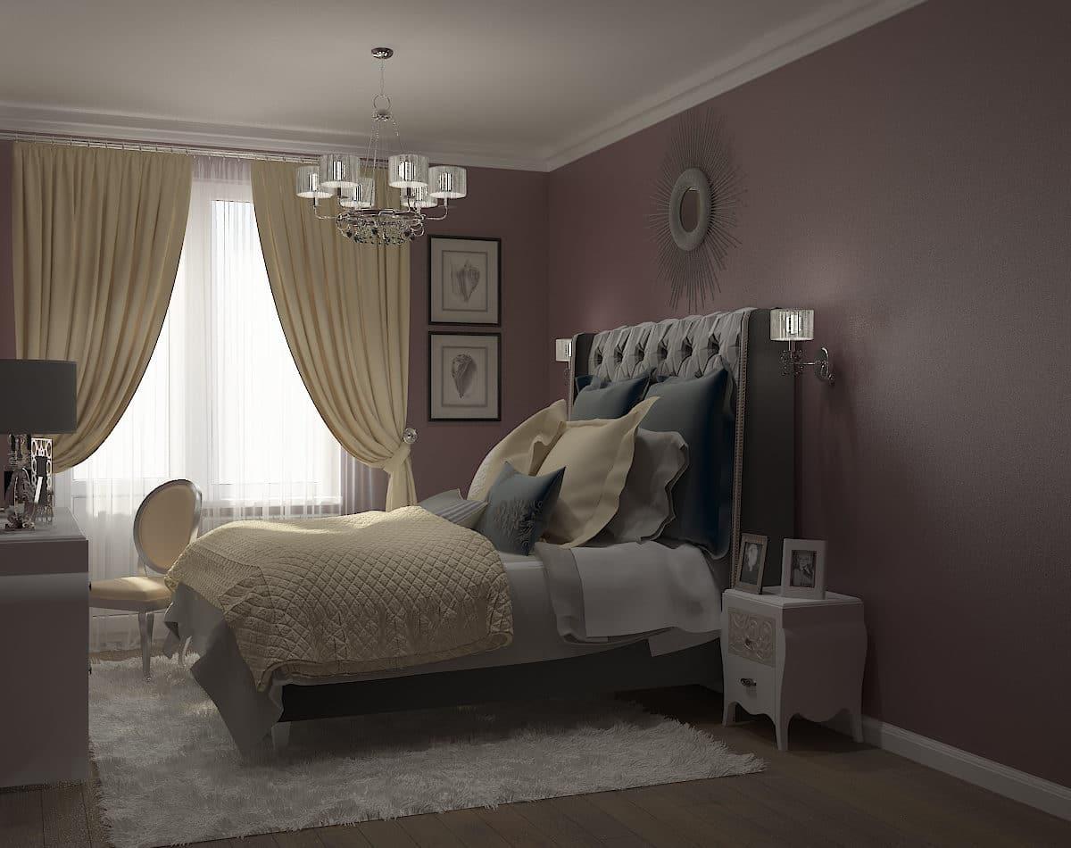 Спальня в  цветах:   Бежевый, Серый, Темно-коричневый, Черный.  Спальня в  стиле:   Неоклассика.