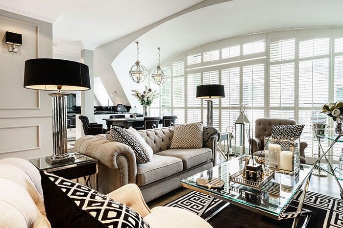 Гостиная в  цветах:   Бежевый, Белый, Светло-серый, Серый, Черный.  Гостиная в  стиле:   Арт-деко.
