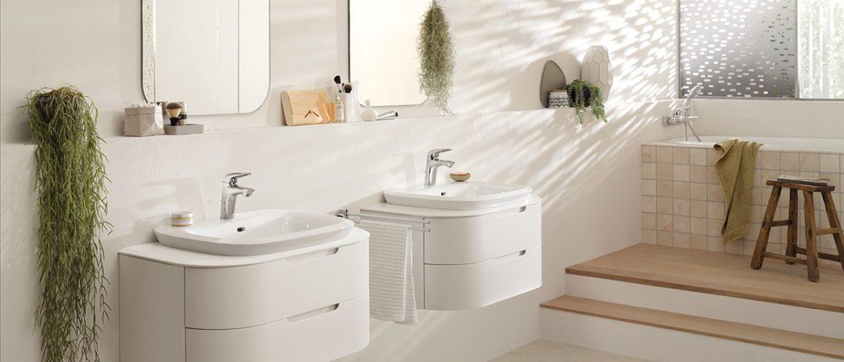 Ванная в  цветах:   Бежевый, Белый, Светло-серый.  Ванная в  стиле:   Минимализм.