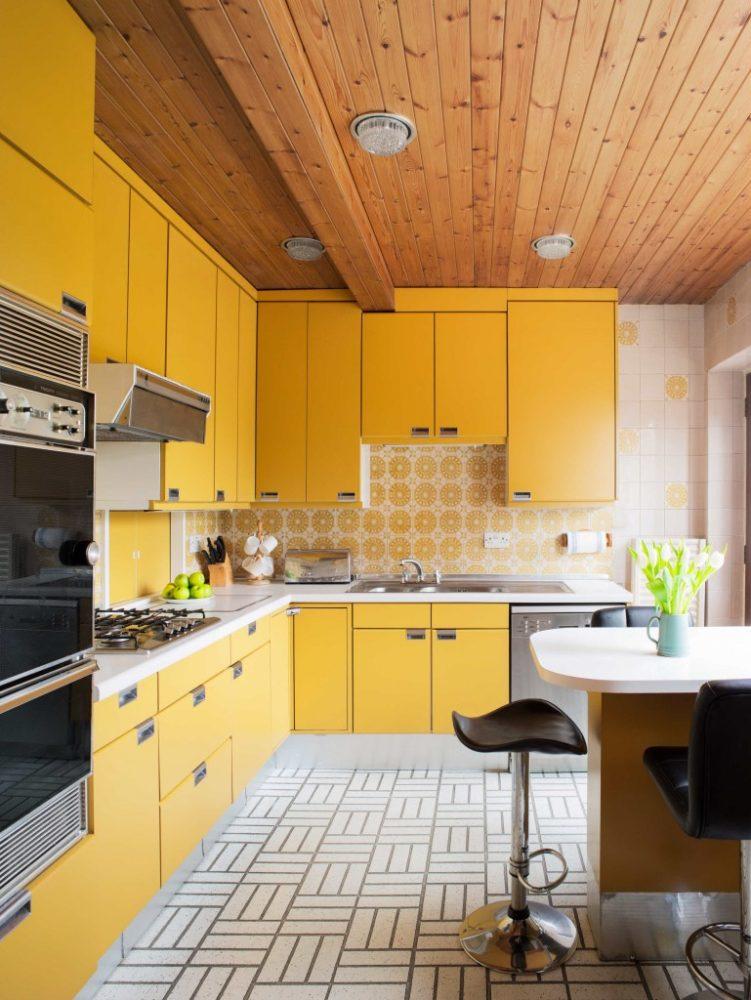 Кухня/столовая в  цветах:   Бежевый, Желтый, Коричневый, Светло-серый, Темно-коричневый.  Кухня/столовая в  стиле:   Минимализм.