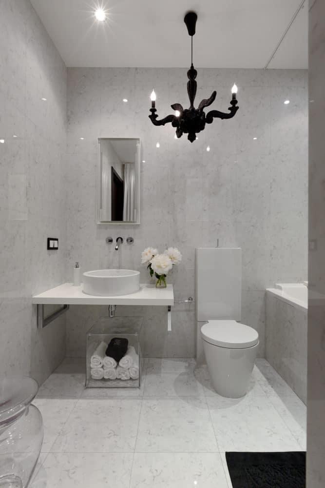 Ванная в  цветах:   Бежевый, Светло-серый, Серый.  Ванная в  стиле:   Эклектика.