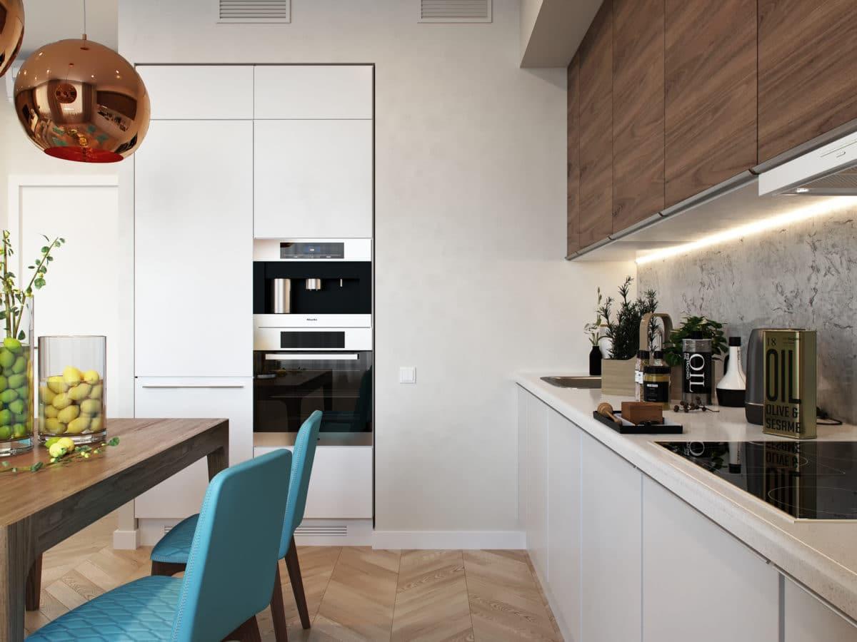 Кухня/столовая в  цветах:   Бежевый, Белый, Коричневый, Светло-серый, Черный.  Кухня/столовая в  стиле:   Скандинавский.