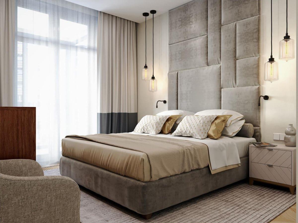 Спальня в  цветах:   Бежевый, Белый, Светло-серый, Серый, Темно-коричневый.  Спальня в  стиле:   Минимализм.
