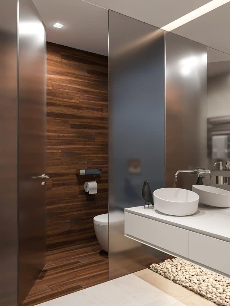 Ванная в  цветах:   Бежевый, Коричневый, Светло-серый, Серый, Темно-коричневый.  Ванная в  стиле:   Минимализм.