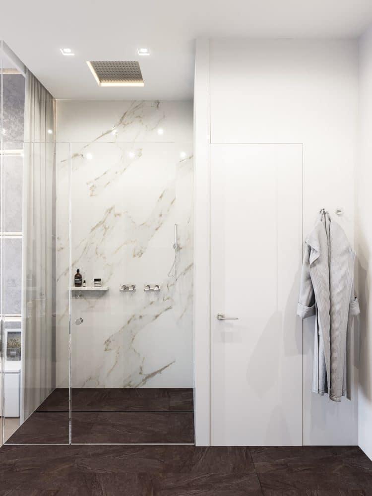 Ванная в  цветах:   Белый, Светло-серый, Темно-коричневый.  Ванная в  стиле:   Минимализм.