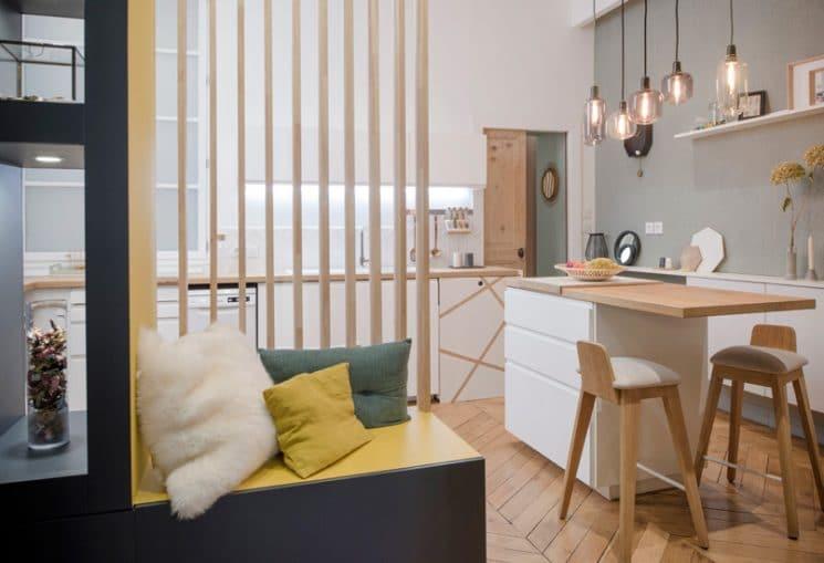 Кухня/столовая в  цветах:   Бежевый, Коричневый, Светло-серый, Серый, Черный.  Кухня/столовая в  стиле:   Скандинавский.